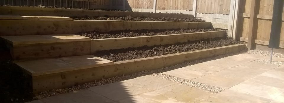 Raised flower bed and steps